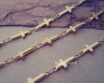 2m(6.5feet)  5mmx13mm gold color (copper ) cross shape chains