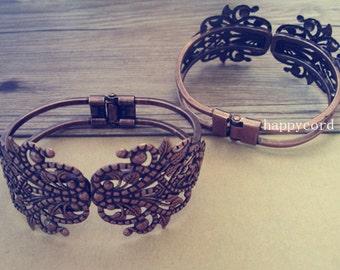 2pcs 34mmx67mm  Antique copper red pedestal bracelet