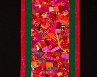 Modern Art Quilt Wall Hanging in Red Orange Fuchsia w/ Green Inlay/FREE SHIPPING