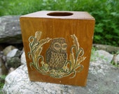 Vintage Wood Owl Tissue Box Cover Case