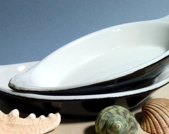 Hall Baking Dish, Casserole Dish, Black and White, Vintage Plate, Bowl, Serving Saucer, Cooking