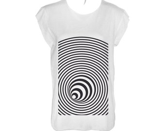 Black spiral, vortex, whirlpool, illusion, optical, hole white tshirt loose fit,scoop neck and cropped stitching (laser cut)