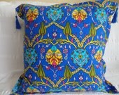 NEW - Pillow with classical Turkish/Ottoman design -  16 x 16 in. - BRIGHT BLUE - Linen