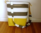 Vegan Tote Bag in Gray & White Canvas, Adjustable Zippered Crossbody Bag or Over the Shoulder Purse