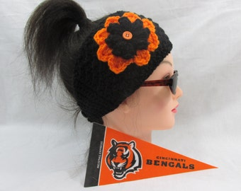 nfl ear warmer, headband,all team colors,cusom colors ,NBA, Cincinnati Bengals , NHL , winter sports colors , womens wear , football mom