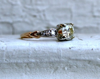 RESERVED - Antique Art Deco 14K Yellow Gold Diamond Engagement Ring - 0.81ct.