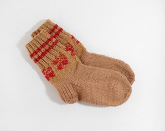 Hand Knitted Wool Socks - Brown and Red, Size Small