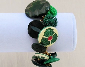 Handmade button bracelet made with green Art Deco and 1950's celluloid and plastic buttons