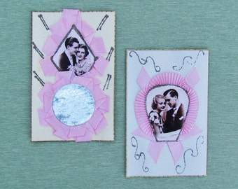 Vintage hand made French postcards, ribbon decorated postcards with photos of young lovers