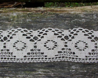Stone Linen Lace Trim--French Style Ecru Flax Linen Lace--Ecru Rhombus Thin--Luxury Trim Vintage High Fashion--for DIY Projects