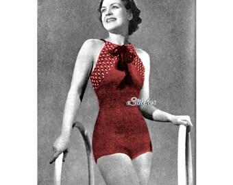 1930s Halter Swim Suit or Bathing Suit with Criss Cross Back - Crochet pattern PDF 1404
