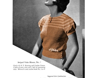 1930s Striped Top with Puff Sleeves and Yoke, Blouse  - Crochet pattern PDF 2907