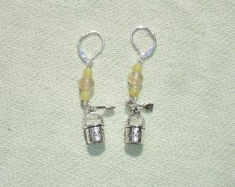 Summer Sand Bucket Gemstone Dangle Earrings with European Leverbacks