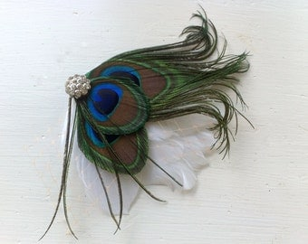 MICHELLE White and Natural Peacock Feather and Ivory Veil Hair Clip, Feather Fascinator, Bridal Hair Piece