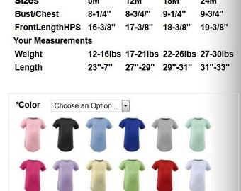 Not for sale, size charts for bodysuits, both boys and girls