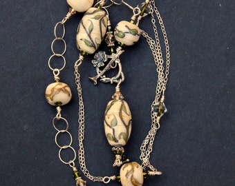 Lampwork Bead Necklace, Beaded Necklace, Handmade Ivory Vine Beads, Sterling Silver Wire Wrapped