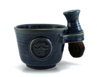 Personalized Mustache Shaving Set: Ceramic Shave Kit, Mug with Initials, Black Badger Brush, Soap, Fathers Day Husband Gift - Allow 4-6 Wks