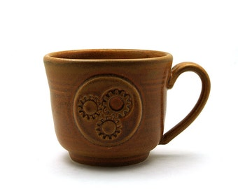 Steampunk Pottery Coffee Mug, Brown Gear Steam Punk Ceramic Cup, Ready to Ship Cool Father or Husband Gift for Men by MiriHardyPottery