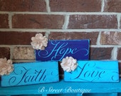 Faith, Hope, & Love Set of Wooden Signs