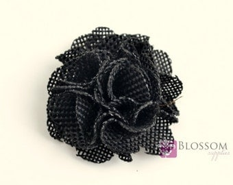 CLEARANCE PETITE Burlap Flowers - BLACK - The Autumn Collection - Burlap Puff Flowers - 2 Inches - diy Headbands - Wedding Rustic Fall
