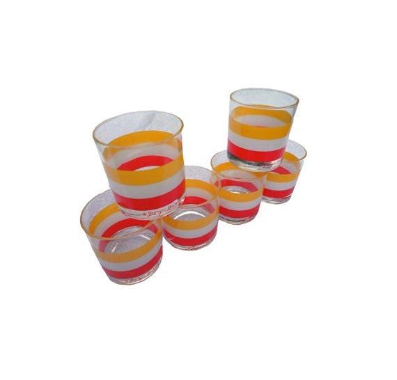 SALE Vintage Barware Set Glasses - 6 Georges Briard Signed Striped Glassware Stripes Drinking Glass
