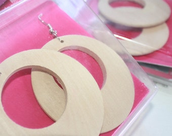 2 pairs of Large wood earrings Not finished Ready to Make comes with nickel free hooks