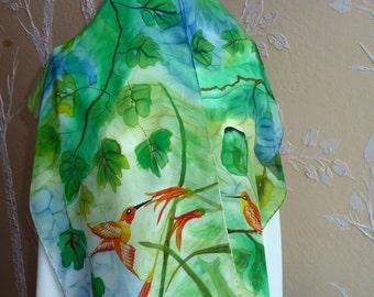 Hand Painted Hummingbird Silk Scarf in Emerald, Teal, Spring Green, Orange, Yellow