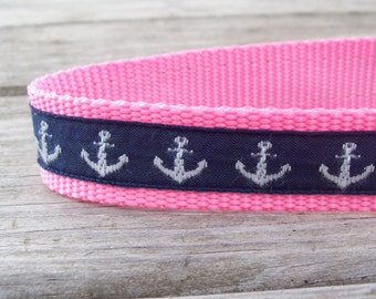 Salty Dog Nautical Navy & Pink Collar 1 in wide