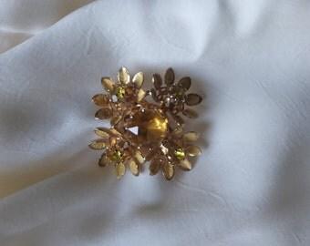 Vintage Signed Austrian Gold Flower Brooch/Pin