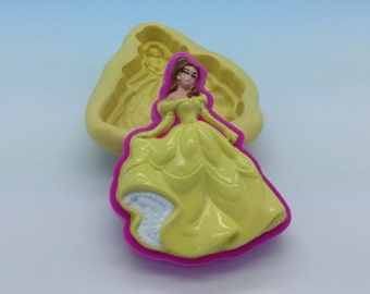 Belle Disney Princess. Sleeping Beauty Flexible Silicone Push Mold for Polymer clay, ,cold porcelain,Resin,Wax, Food,Sweets,fimo,chocolate.