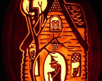 Vintage Halloween Witch's House hand carved on a foam pumpkin for Halloween decorating