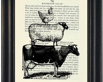Upcycled Cookbook Page Kitchen Art Recycled Book Farm Animals Print