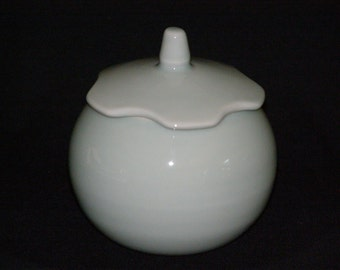 Vintage Asian Covered Dish in Powder Blue Porcelain Signed by Artist -Clean and Simple - Japanese, Korean, Vietnamese