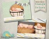 Baby Announcement PHOTOSHOP TEMPLATE - Baby Boy Whimsical