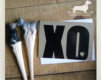 CLEARANCE! XOXO. Note Card -- (Valentine Card, Love, Hugs and Kisses, Heart, Bold, Simple, Modern, Cute, Typographic, Simple, Funky, Geeky)