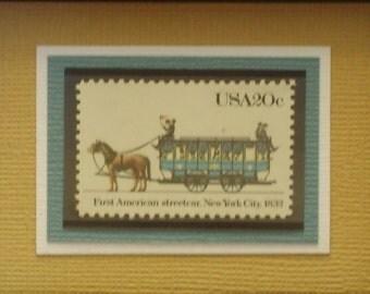First American Streetcar - Vintage Framed Stamp - No. 2059