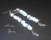 "Earrings: Genuine Moonstone and Silver Plated Copper, Handmade ""Glowing"""