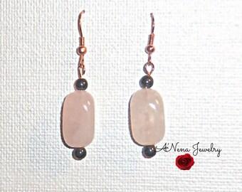 Earrings: Rose Quartz and Hematite