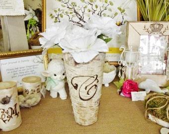"Custom Monogrammed Birch Bark Covered 9"" Vase, Set of 10 Custom Wood Burning, Wedding table numbers alternative"