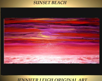 Original Large Abstract Painting Modern Contemporary Canvas Art  Purple Pink White SUNSET BEACH 48x24 Palette Knife Texture Oil J.LEIGH