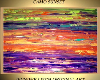 Original Large Abstract Painting Modern Contemporary Canvas Art Green Purple Orange CAMO SKY Sunset 36x24 Palette Knife Texture Oil J.LEIGH