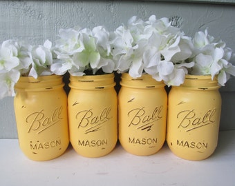 Painted and Distressed Ball Mason Jars- Pale/Pastel/Light Yellow-Set of 4 Flower Vases, Rustic Wedding, Centerpieces
