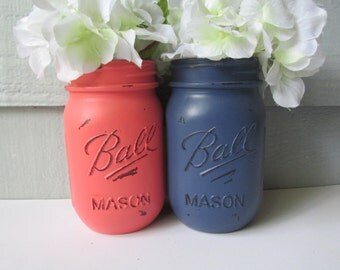 Painted and Distressed Ball Mason Jars- Dark Navy Blue and Coral-Set of 2 Flower Vases, Rustic Wedding, Centerpieces