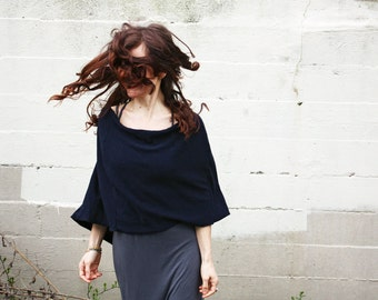 Midnight blue poncho, cashmere/Merino woolCape /Shawl, clothing for women, gift for her