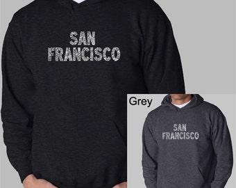 Men's Hooded Sweatshirt - San Francisco Neighborhoods - Created using San Francisco's most popular neighborhoods