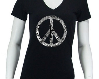 Women's V-neck T-shirt - Created out of the words Peace, Love & Music and the images that define the hippie lifestyle.