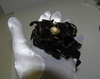 BLACK VELVET HEADBAND victorian looking black velvet  beaded