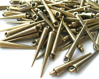 "25 Medium ""OLD Brass"" Spikes -Made of Acrylic -with Top Loop- 34mm. Fast Shipping from USA with Tracking for US Buyers."