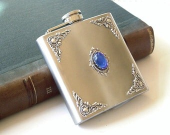 Liquor Flask - Sapphire and Silver on Stainless Steel - 6 oz - Vintage Style Accessories