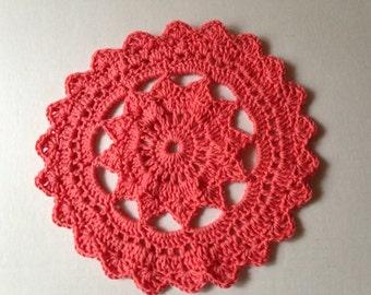 doily pink doily handmade doily modern doily coral doily non traditional doily